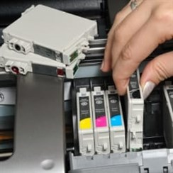 Change Toner Cartridge In Inkjet Printer CMYK