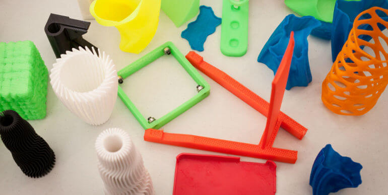 Various Plastic Products Produced By A 3D Printer