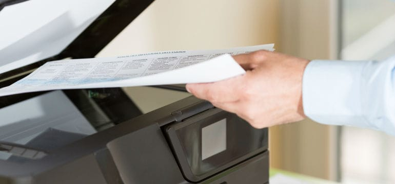 Scanning A Document Using A Multifunction Office Printer