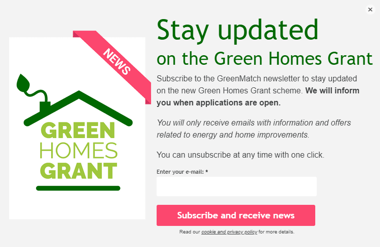 Greenmatch Email Pop-up